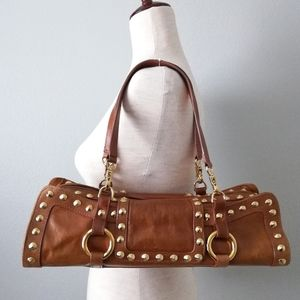 Sabina Leather Bag, Brown W/Gold Studs & Hardware